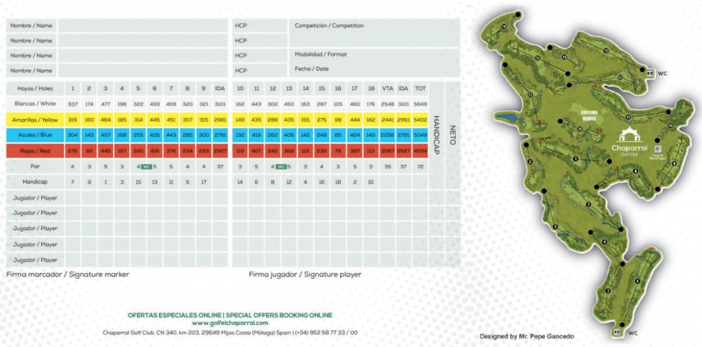 El Chaparral Golf Scorecard